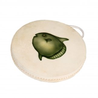 This is a product image of the Ocean Drum - 12in (30cm) diameter, painted. It is round skin on a frame with a handle at the top. In the middle is a painted green fish facing to the left.