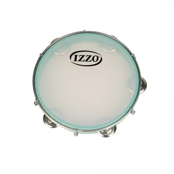This is a product image of the Pandeiro - 10in diameter, Izzo. It is green with a a synthetic skin and small cymbals around the frame.