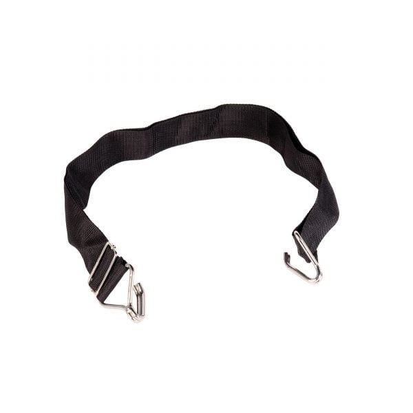This is a product image of the Samba Belt - 2 open hooks, suitable for Caixa or Surdo. It is black with two hooks at either end to attach to the Caixa and wrap around the player's back.