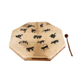 This is a product image of the Shaman Drum - 24in (60cm) diameter, painted. It is an octaganal frame drum with a stretched goat skin. The skin has a multitude of tribal animals painted upon it. The beater is lying beside the drum.