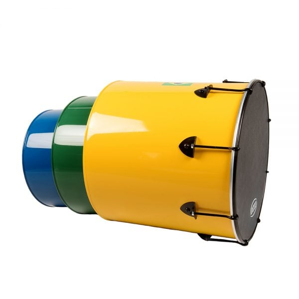 Surdo - Nesting - Primary 3 Pack, Izzo. It contains the Nesting Surdo - 16in diameter, aluminium, Izzo (Yellow), the Nesting Surdo - 14in diameter, aluminium, Izzo (Green) and the Nesting Surdo - 12in diameter, aluminium, Izzo (Blue) all nestled within one another demonstrating their stackable quality.