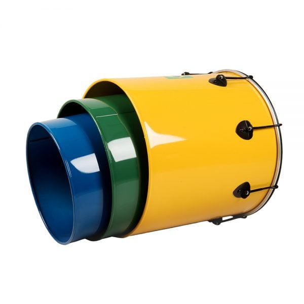 This is a product image of the Surdo - Nesting - Primary 3 Pack, Izzo. It contains the Nesting Surdo - 16in diameter, aluminium, Izzo (Yellow), the Nesting Surdo - 14in diameter, aluminium, Izzo (Green) and the Nesting Surdo - 12in diameter, aluminium, Izzo (Blue) all nestled within one another demonstrating their stackable quality.