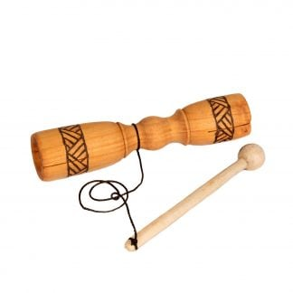This is a product image of the Tik Tok - carved. It is a carved piece of wood that is symmetrical from end to end. Around the two ends is a burnt line pattern for decoration. In the middle, a wooden beater is attached with string. The instrument is lying flat and angled slightly to the right.