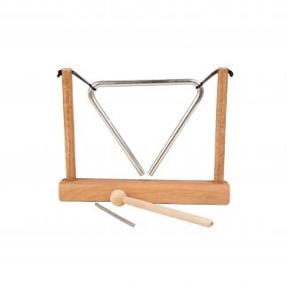 This is a product image of a Triangle on Stand. The wooden stand has two struts which support a tied metal triangle. The beater and metal striker have been placed in front of the instrument. The image has been taken from the front.