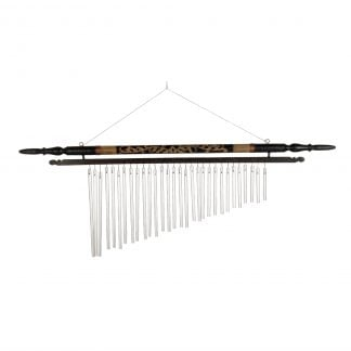 This is a product image of the Wind Chime - 20in (50cm), bamboo. It is a series of bamboo tubes cut to different lengths in order to generate different notes when activated. A central pendulum is also present which will make the Wind Chime sound in an open air current.