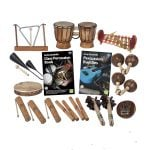 This is a product image of the World Percussion - 15 Player Budget Class Pack. The products are laid out and include the following; Back Row - One Triangle on Stand, one Bongos (African Bongos) one Gamelan (Metallophone) - C major. Second Row - One Agogo Bells - Medium, Andy Gleadhill's Class Percussion Book, Andy Gleadhill's Percussion Buddies Book, two Maraca - Coconut, pair. Bottom Row - One Tambourine, three Guiro - Small - bamboo, two Clapsticks (Claves) - 23cm, two Bento Shaker, one Thumb Piano (Mbira) - natural, coconut.