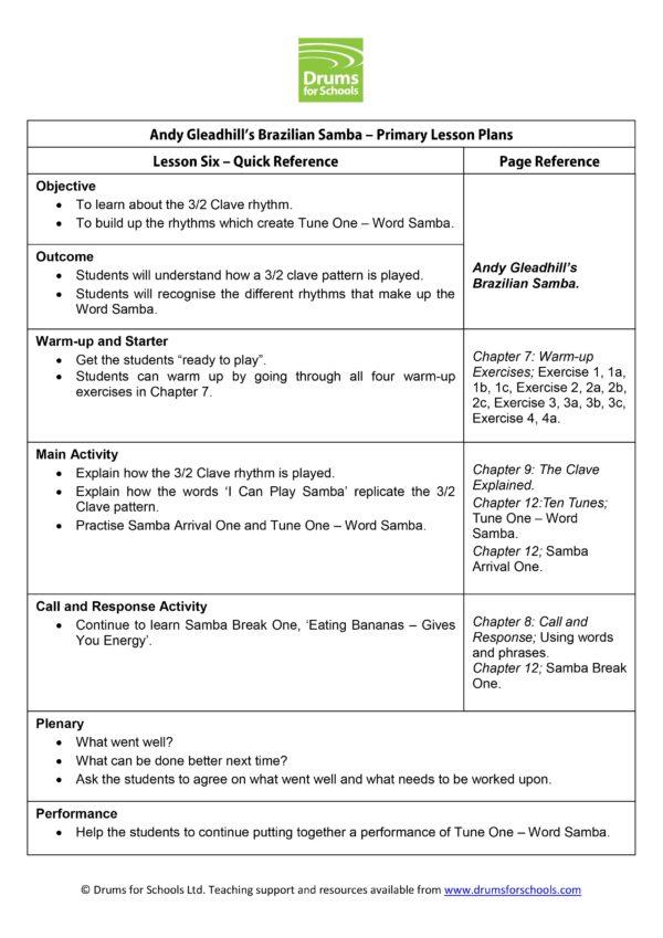 Andy Gleadhill's Brazilian Samba Primary Scheme of Work