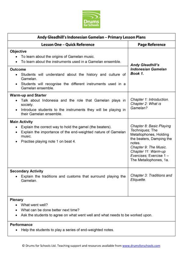 Andy Gleadhill's Indonesian Gamelan Primary Scheme of Work
