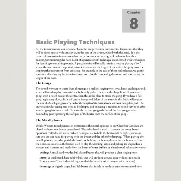 Image showing Basic Playing Techniques from Andy Gleadhill's Indonesian Gamelan Book