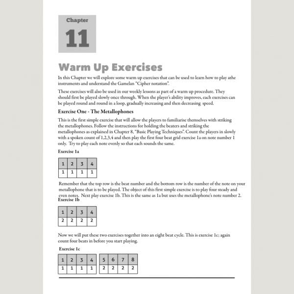 Image showing Warm Up Exercises from Andy Gleadhill's Indonesian Gamelan Book