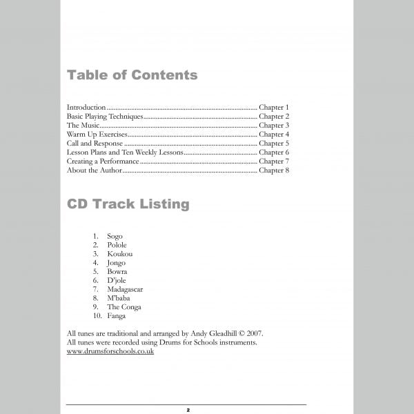 Image showing Contents page from Andy Gleadhill's African Drumming Teaching Guide.