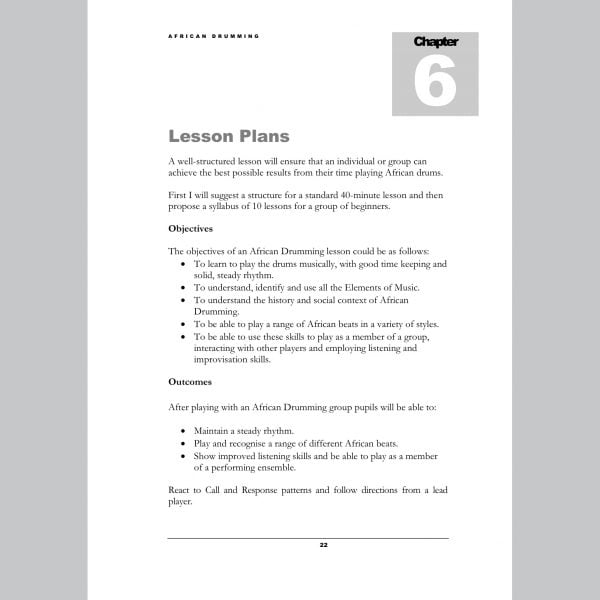 Image showing Lesson Plans page from Andy Gleadhill's African Drumming Teaching Guide.