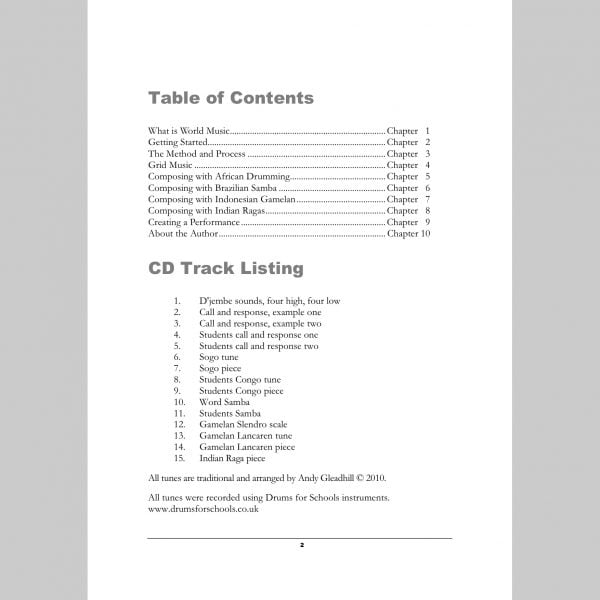 Image showing contents page from Andy Gleadhill's Composing World Music Teaching Guide