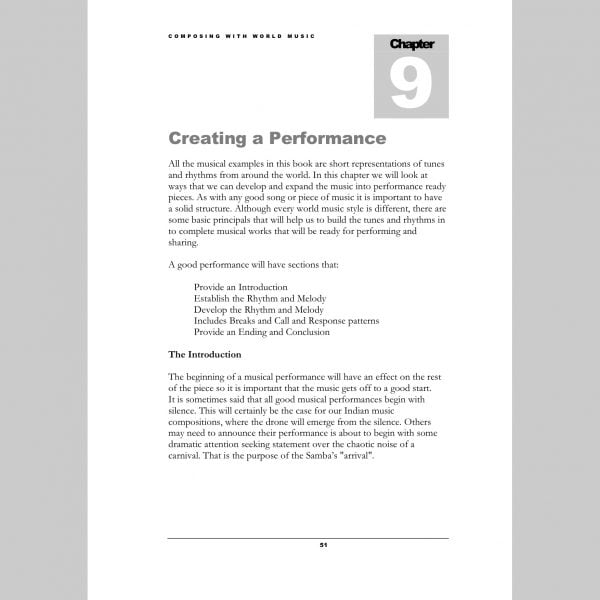 Image showing a page from Andy Gleadhill's Composing World Music Teaching Guide - Performance