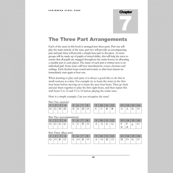 Image showing a page of Three Part Arrangements from Andy Gleadhill's Caribbean Steel Pans teaching guide