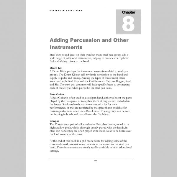 Image showing a page about adding percussion from Andy Gleadhill's Caribbean Steel Pans teaching guide