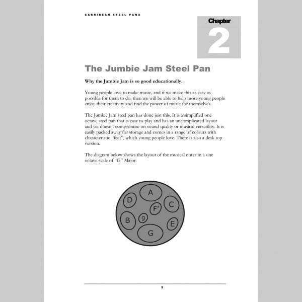 Image showing a page about the Jumbie Jam from Andy Gleadhill's Caribbean Steel Pans teaching guide