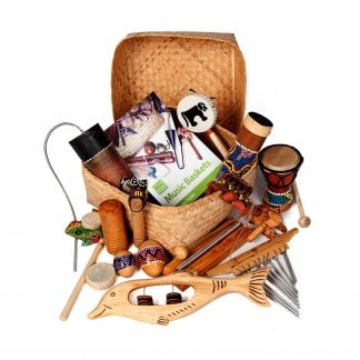 This is a product image of Drums for Schools World Music Basket Small, 15 instruments.